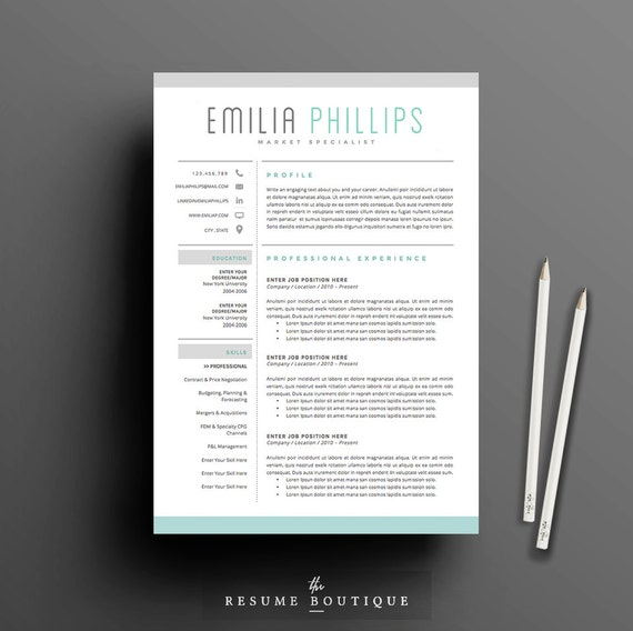 "Resume Template 4 page | CV Template + Cover Letter for MS Word | Instant Digital Download | The ""Aqua"""
