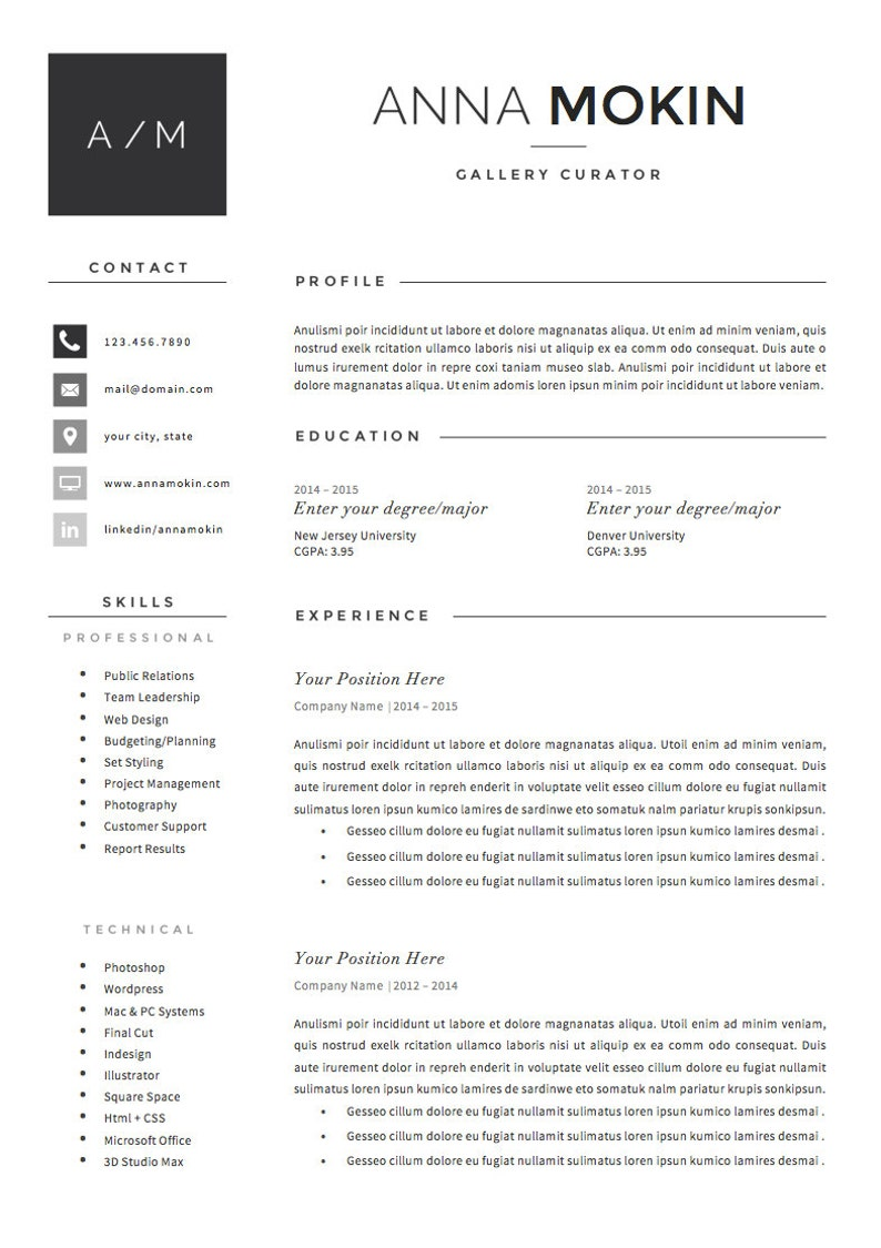 5 Page Resume CV Template Cover Letter References For MS Word