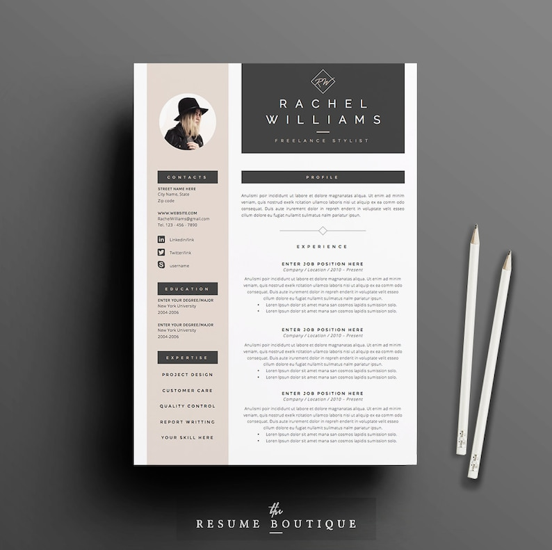 4 page Resume / CV Template + Cover Letter for MS Word | Instant Digital  Download | The
