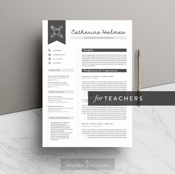 "Teacher Resume Template for Word ( 5 Pages ) + Icon Pack | Teacher CV Template | INSTANT DOWNLOAD | The ""Educator"""