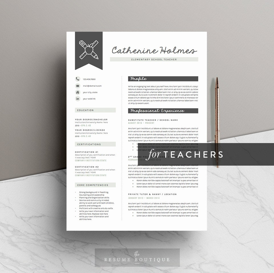 teacher resume template for word 5 pages icon pack