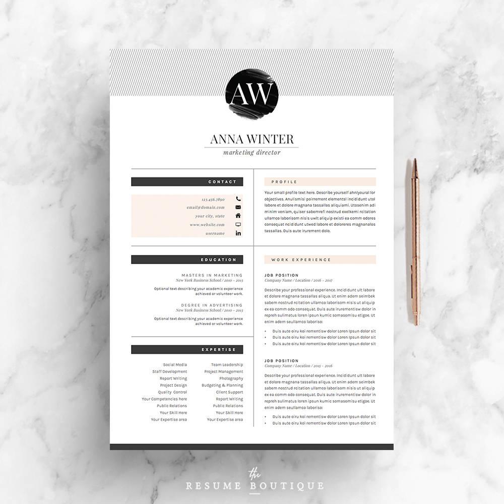 5 página de plantilla de currículum Plantilla de CV carta | Etsy