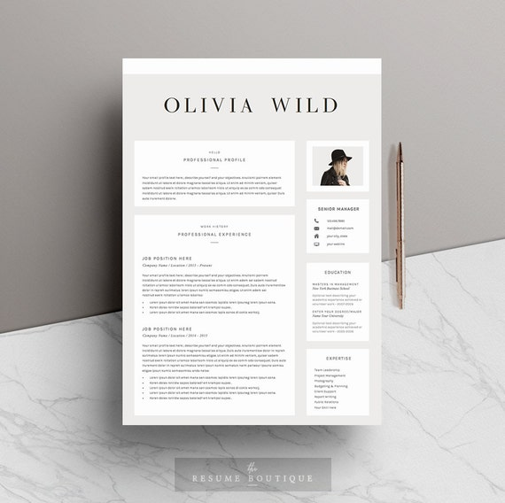14 Resume Cover Pages: Resume Template 5 Pages CV Template Cover Letter