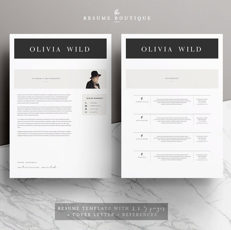References for MS Word Resume Template 5 pages CV Template Instant Digital Download The Ultra Chic Cover Letter