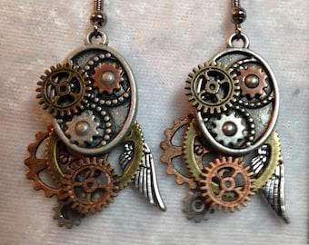 Clockwork & Gear Cluster; Steampunk Inspired Earrings; SP232