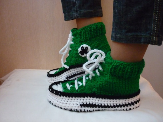 Crochet Pattern Converse Slippers Knitted Pattern Slippers Etsy