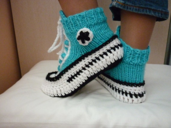 Crochet Pattern Converse Slippers Knitted Pattern Slippers Etsy Cool Converse Slippers Crochet Pattern