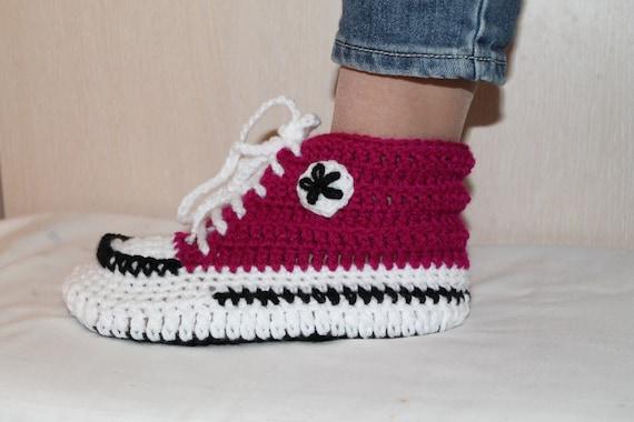 Crochet Pattern Converse Slippers Crochet Pattern Slippers Etsy Impressive Converse Slippers Crochet Pattern