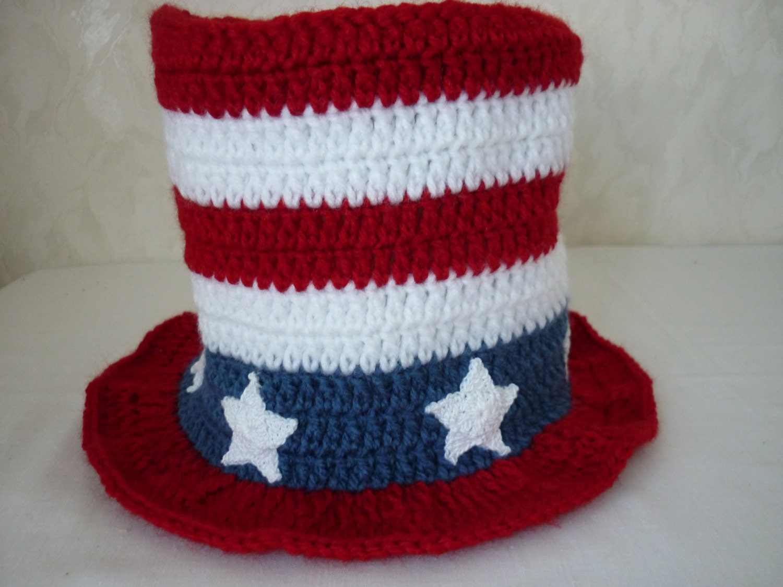 Crochet Pattern American Flag Hat July 4th Top Hat American Etsy