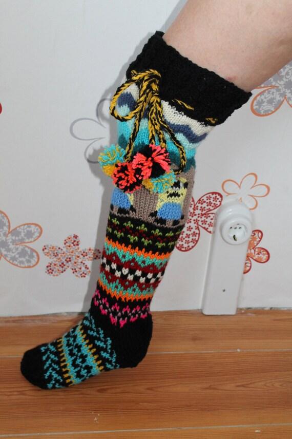 Minion Pattern Knit Socks Pattern Knit Socks Multicolored Etsy