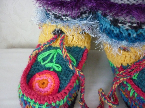 Pattern Crochet Boot Slippers Knitted Pattern Boot Colorful Etsy