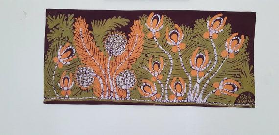 home wall art decore Green dyes /& white style Plants Motif Egyptian freehand artwork Batik art interior design unique piece