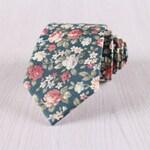 Green Floral Printed Cotton Necktie, Vintage Flower Print 7.5 CM/3 IN Wide Necktie, Wedding Groomsmen Gift Floral Design Necktie-NT.229S