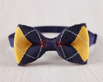 Deep Blue Red Plaid Knit Bowtie, Novel Checkered Knitted Bow Tie, Wedding Groomsmen Knit Bowtie, 6.5 CM/2.6 IN Pre-Tied Bowtie-BT.80S