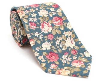 Floral Tie for Men, Wedding Tie Floral, Green Men Tie, Floral Tie, Green Tie, Groomsmen Tie, Vintage Necktie, Personalized Gift for him