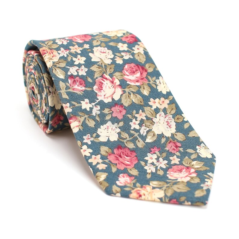 Floral Tie for Men Wedding Tie Floral Green Men Tie Floral Small Flowers/Man-M