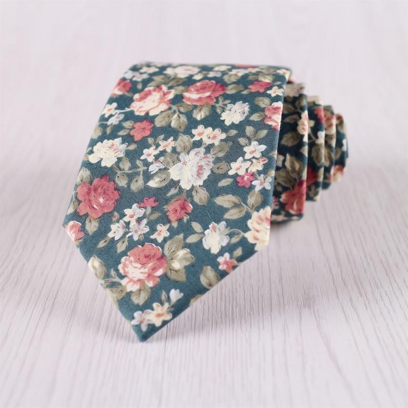 Wedding Floral Tie Green Floral Ties Mens Neck Tie Floral Small Flowers/Man-M