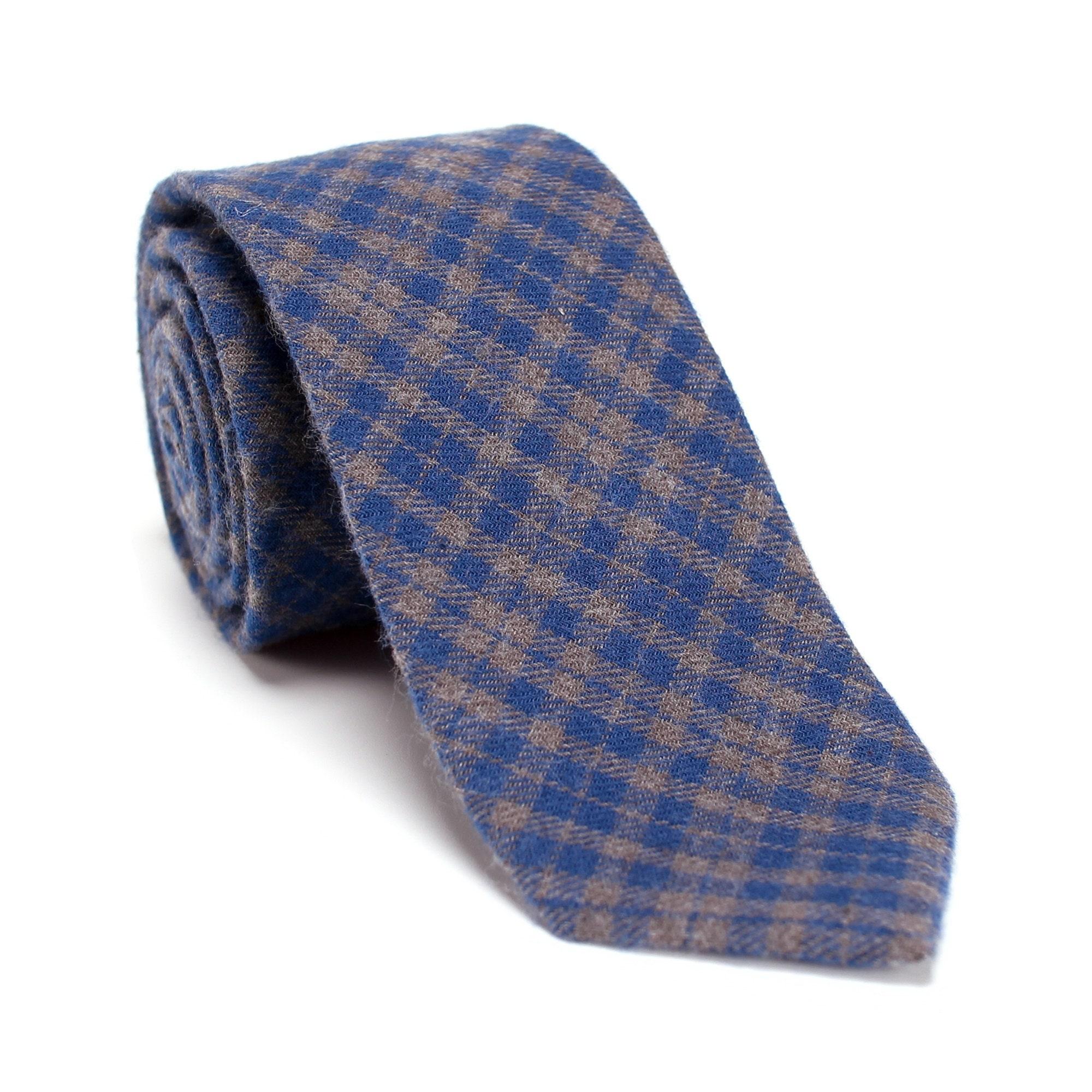 Mens Skinny Tie Green Blue Checks Tie 6 cm Thin Wedding Formal Tie Groom Necktie