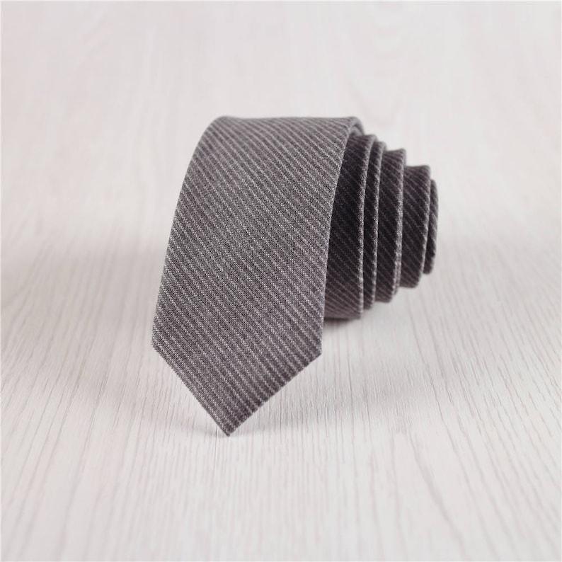 Dark Gray Skinny Fine Striped Wool Necktie Gift Woolen Necktie for Wedding Groomsmen-NT.281S Vintage 5 CM2 IN Wide Wool Neck Ties