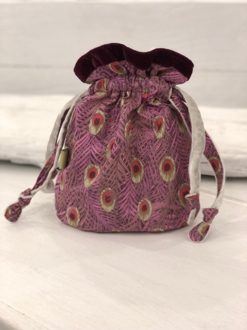 Velvet lined  Liberty of London  Purple   peacock Drawstring oracle Tarot Pouch