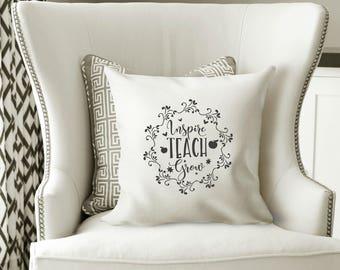 Teacher Pillow, Teacher Pillow Cover, Inspire Pillow, Teacher Gifts, Gifts for Teacher, Thank you Teacher, Teacher, Thank you Teacher, Teach