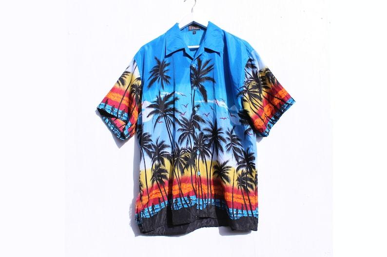 39040cff 90s Palm Tree HAWAIIAN Loud Psychedelic Printed Mens Short | Etsy