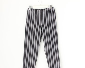 90s Striped Cotton Surf Happy Hippie Stoner Festival Pants w/ Elastic Waist - Mens / Unisex