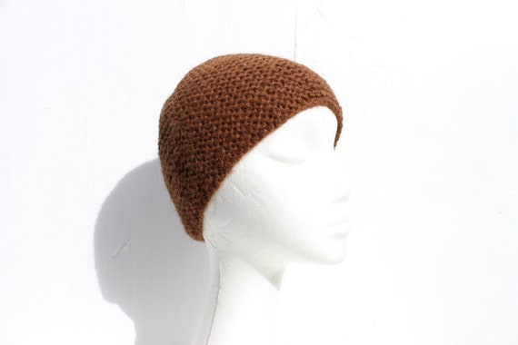 90s Hand Knit Caramel / Earthy Brown Wool Minimal
