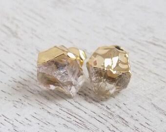 Gift For Her, Clear Crystal Earrings, Raw Crystal Studs, Natural Stone Earrings, Gemstone Studs, Bohemian Jewelry, Boho Earrings Gift G7-860