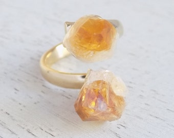 Citrine Ring Gold, Raw Citrine Ring, Natural Citrine Ring, Citrine Crystal Ring, Gemstone Ring, Yellow Two Stone Ring, Statement Ring G5-769
