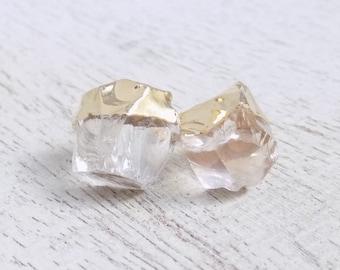 Gift For Her, Clear Crystal Earrings, Raw Crystal Studs, Natural Stone Earrings, Gemstone Studs, Bohemian Jewelry, Boho Earrings Gift G7-855