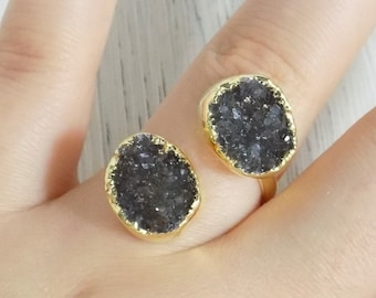 Natural Peacock Druzy Gold Plated Gemstone Jewelry Ring 20 X 29 mm Oval  Natural Ring  Ladies Ring  Women Ring  Fashion Ring JMI61294