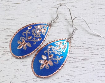 Blue Copper Earrings, Copper Earrings, Lightweight Earrings, Floral Dangle Earrings, Royal Blue Earrings, Long Earrings, Mom Gift, C2-01
