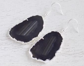 Black Agate Earrings, Slice Agate Earrings, Silver Geode Earrings, Gemstone Earrings, Large Stone Earrings, Boho Earrings, Gift For Her 8-04