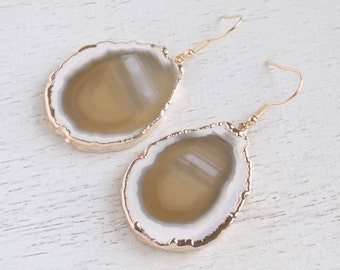 Slice Agate Earrings, Brown Agate Earrings, Geode Earrings, Gemstone Earrings, Large Stone Earrings, Raw Stone Earrings, Fall Colors, 8-24