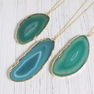 Raw Stone Pendant Boho Long Layer Green Agate Agate Necklace Women Slice Agate Necklace
