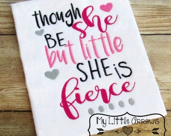 Little but fierce 5x7 embroidery file - JEF file -cute kids design - childrens shirt diy - embroidery design - though she be little embroide
