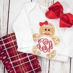 Monogram gingerbread girl 4x4 5x7 6x10 - jef file - pes file -cute christmas embroidery - girl christmas embroidery -gingerbread embroidery