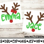 Personalized sibling matching reindeer embroidery design 4x4 5x7 6x10 -jef file- pes file -cute reindeer embroidery - Christmas embroidery