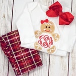 Monogram gingerbread girl 4x4 5x7 6x10 - jef file - pes file -cute christmas embroidery - girl christmas embroidery -gingerbread embroidery
