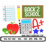 Back to school svg - school SVG, Dxf, Eps, png - Cut files - Cameo - Cricut - school supplies clipart - school supplies svg
