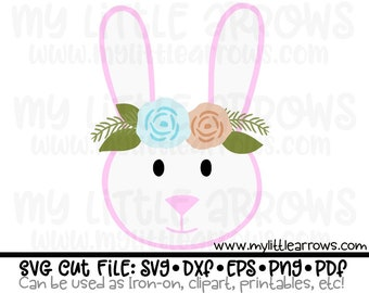 Easter Floral Bunny SVG | EPS | dxf | png | PDF Can be used as printable, iron on, clipart, cut file , screenprint , commercial use