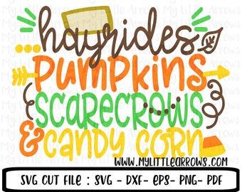 Hayrides SVG | Pumpkins SVG | Scarecrows svg | Candy corn svg | fall svg | Halloween svg | Halloween iron on | Printable | dxf | eps