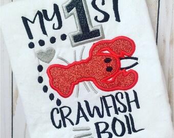 Crawfish applique - my first crawfish boil applique - 4x4 5x7 6x10 crawfish design - embroidery file - crawfish boil applique- cute crawfish