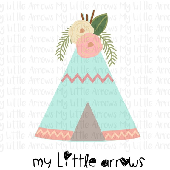 Floral Tee Pee Svg Dxf Eps Png Files For Cutting Machines Etsy