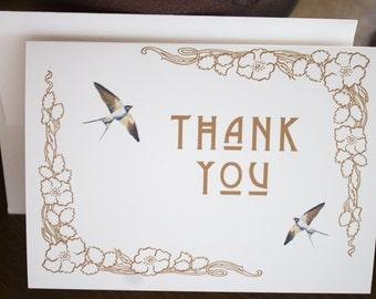 Thank You Cards - Wedding Art Nouveau Swallows