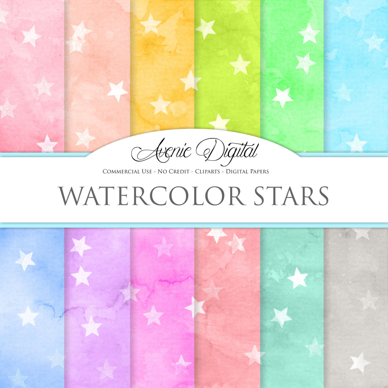 Pattern Background Rainbow Watercolor Digital Paper Scrapbooking Paper For Personal and Small Commercial Use