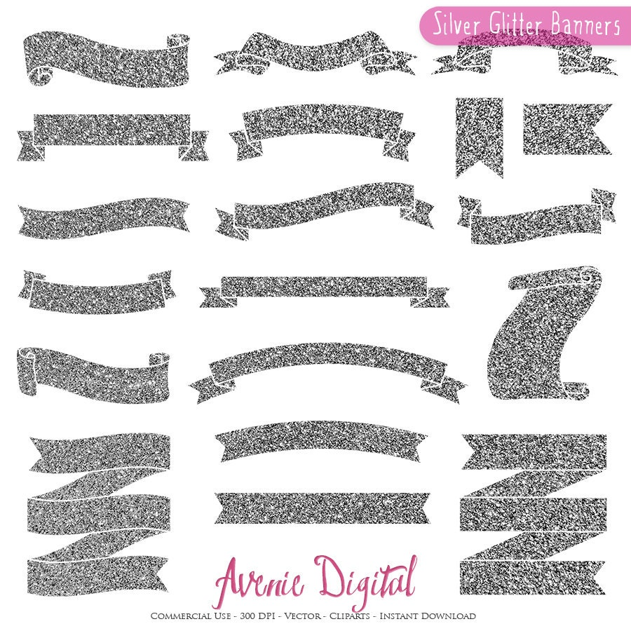 Silver Glitter Ribbon Banner Clipart. Scrapbook printables | Etsy
