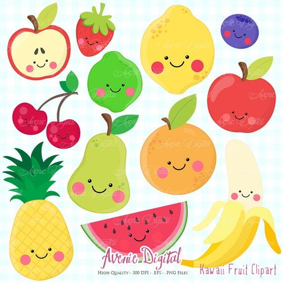 Kawaii Fruit Clipart  Scrapbook printable, Vector  eps and