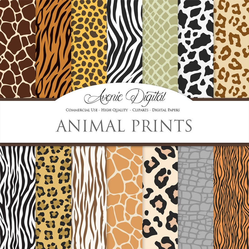 645abec3ee Vector Animal Prints Digital Paper Backgrounds Wild Animal